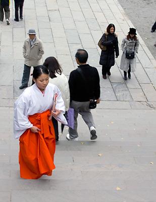 Bir Shinto rahibesi tapınağın basamaklarını tırmanırken.
