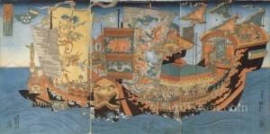 İmparatorun Pengai Dağı'nı bulmak için gönderdiği gemiler.  Japon ressam Utagawa Kuniyoshi tarafından 1840 civarı yapılan resim.